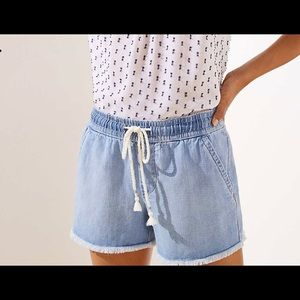 FRAYED COTTON LINEN DRAWSTRING SHORTS